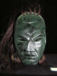 Carved  Pounamu (Jade) Worrier Mask